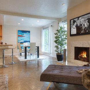 Ispirazione per un soggiorno contemporaneo di medie dimensioni e stile loft con pareti beige, cornice del camino in pietra, pavimento in sughero e TV a parete