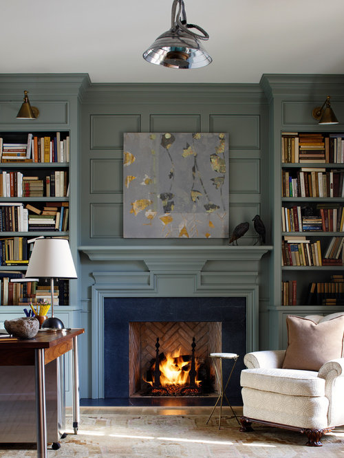 Inspiration For A Timeless Living Room Library Remodel In Richmond With Standard Fireplace