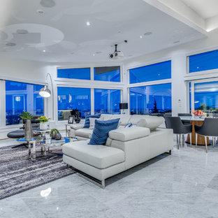Immagine di un ampio soggiorno design aperto con pareti bianche e pavimento in marmo