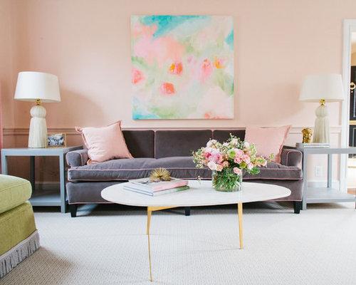 Salon romantique avec un mur rose photos et id es d co for Salon romantique