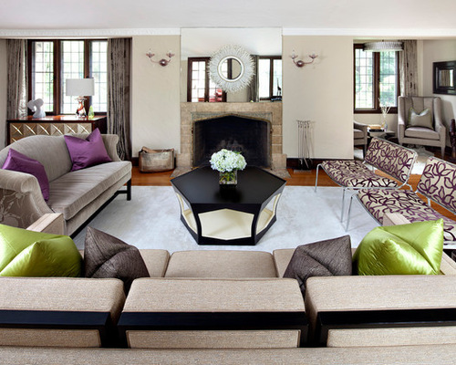 Octagon coffee table houzz - Purple and tan living room ...