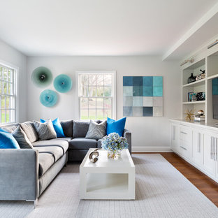 Living room - mid-sized transitional formal medium tone wood floor living room idea in New York with white walls and a tv stand