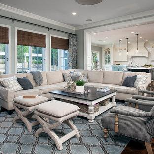 Immagine di un soggiorno tradizionale con pareti grigie e parquet scuro