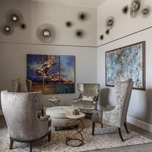 Ispirazione per un piccolo soggiorno classico chiuso con sala formale, pareti grigie, moquette, nessun camino, nessuna TV e pavimento grigio