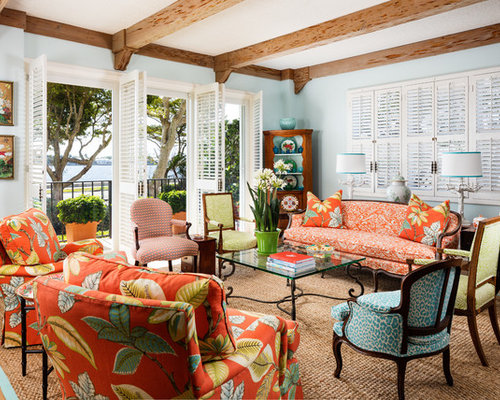 Tropical Open Concept Living Room Design Ideas Remodels Photos