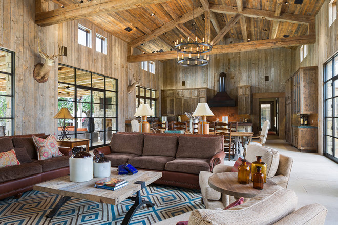 Rustic Living Room by Cornerstone Architects