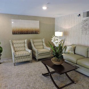 Inspiration for a large transitional open concept carpeted and beige floor living room remodel in Other with gray walls, no fireplace and no tv