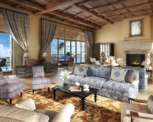 Double living room home design ideas pictures remodel for Mediterranean living room