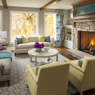 Living room - large transitional formal and open concept dark wood floor living room idea in Minneapolis with gray walls, a standard fireplace, a stone fireplace and no tv