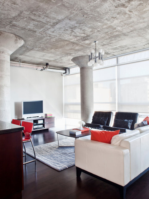 Exposed concrete ceiling houzz for Downlight design living room