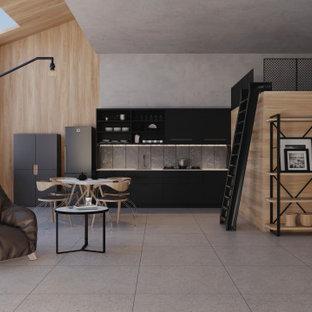 Imagen de salón tipo loft y madera, industrial, pequeño, madera, con paredes multicolor, suelo de baldosas de porcelana, suelo gris y madera