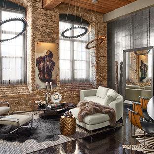 Ispirazione per un soggiorno industriale di medie dimensioni e aperto con pareti grigie, pavimento nero, sala formale e pavimento in cemento