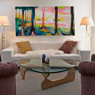 Eclectic carpeted living room photo in Madrid with white walls