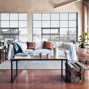 This Is An Example Of A Large Industrial Open Concept Living Room In  Melbourne With Medium