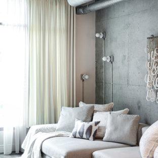 Foto di un piccolo soggiorno industriale stile loft con pavimento in vinile, TV a parete, sala formale, pareti grigie e nessun camino