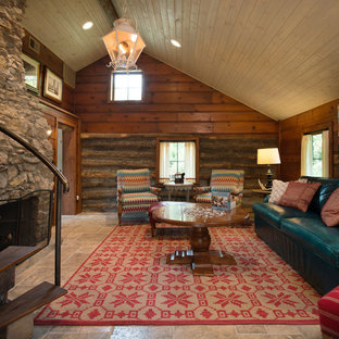 Rustic living room in Kansas City with brown walls, a standard fireplace, a stone fireplace surround and no tv.