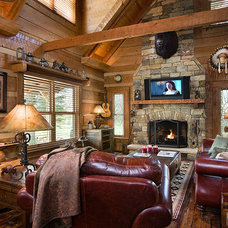 Traditional Living Room by Appalachian Log and Timber Homes