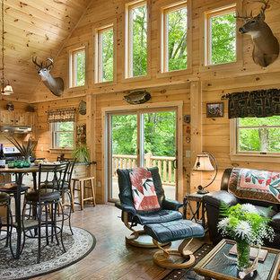Living room - rustic living room idea in Burlington