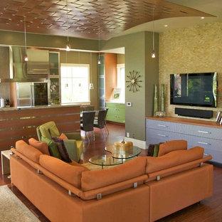 ソルトレイクシティの小さいコンテンポラリースタイルのおしゃれなLDK (壁掛け型テレビ、緑の壁、無垢フローリング) の写真