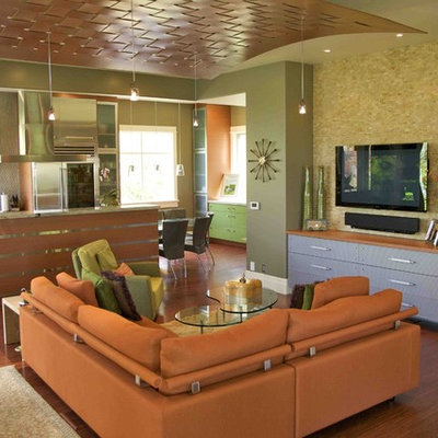 Small trendy open concept medium tone wood floor living room photo in Salt Lake City with a wall-mounted tv and green walls