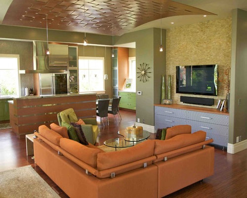 Small Trendy Open Concept Living Room Photo In Salt Lake City With A  Wall Mounted