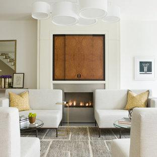 Diseño de salón abierto, minimalista, de tamaño medio, con paredes blancas, chimenea lineal, televisor retractable, marco de chimenea de metal y suelo gris