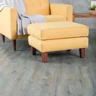 Idee per un soggiorno design con pavimento in vinile
