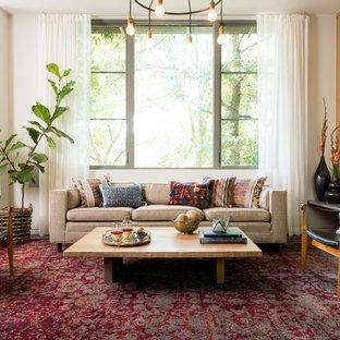 Idéer för att renovera ett eklektiskt vardagsrum, med vita väggar