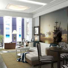 mediterranean living room by Lompier Interior Group