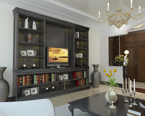 Tv wall unit houzz for B q living room units
