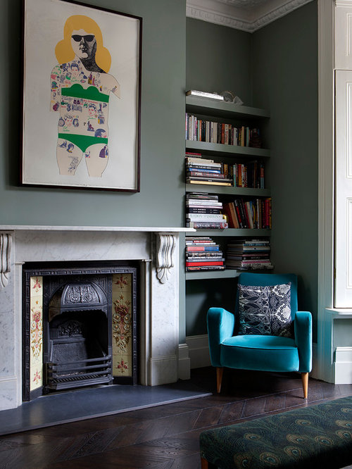 Design Ideas For A Classic Living Room In London With Green Walls Dark Hardwood Flooring