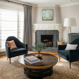Inspiration for a transitional formal and enclosed medium tone wood floor living room remodel in San Francisco with gray walls and a corner fireplace
