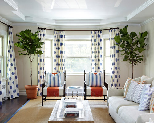 Bay window curtains home design ideas pictures remodel - Houzz window treatments living room ...
