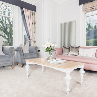 Design ideas for a classic formal living room in Other with white walls, carpet and beige floors.