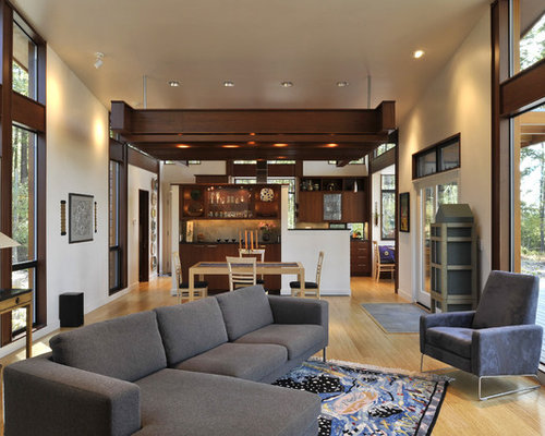 Contemporary Open Concept Living Room Idea In Seattle With Beige Walls