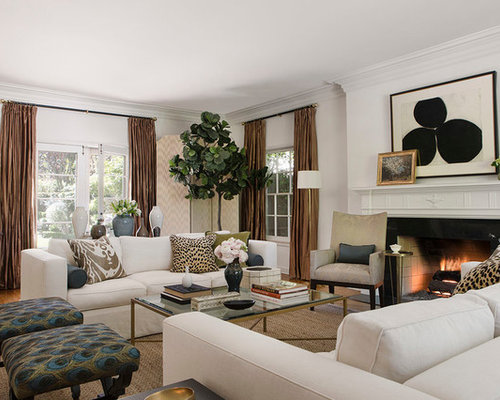 Example Of A Classic Formal Medium Tone Wood Floor Living Room Design In  Los Angeles With