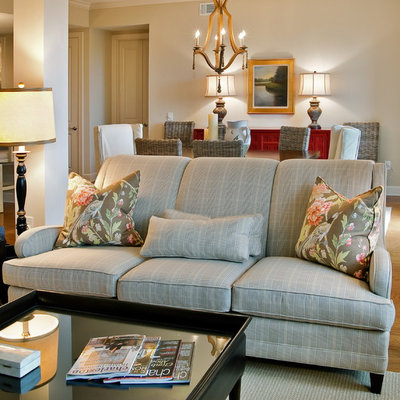 Inspiration for a timeless living room remodel in Charleston with beige walls