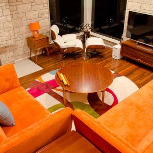 Immagine di un soggiorno moderno con camino classico, cornice del camino in pietra e TV autoportante