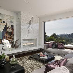 Modernes Wohnzimmer mit weißer Wandfarbe und Gaskamin in Los Angeles