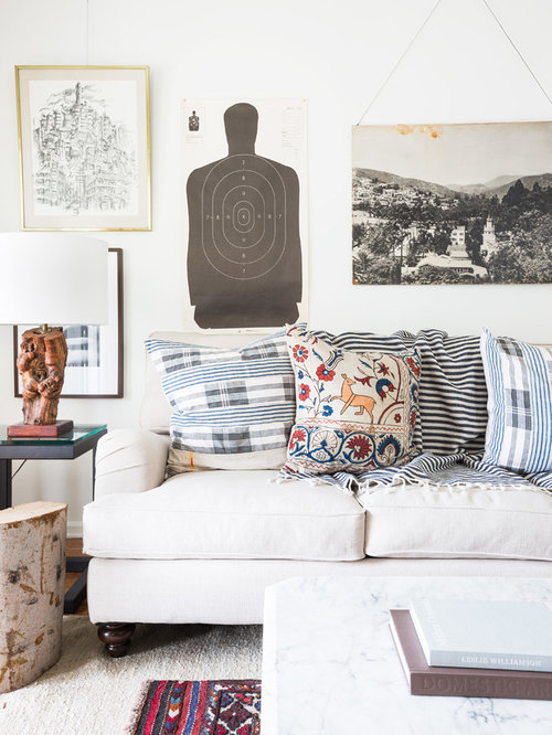 target living room. Example of a small eclectic open concept medium tone wood floor living room  design in Los Target Living Room Ideas Photos Houzz