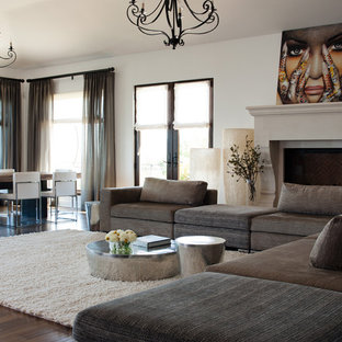 Inspiration for a large contemporary open concept dark wood floor and brown floor living room remodel in San Francisco with white walls, a standard fireplace and a stone fireplace