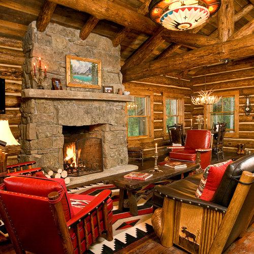 Small Log Cabin Living Room Ideas & Photos   Houzz