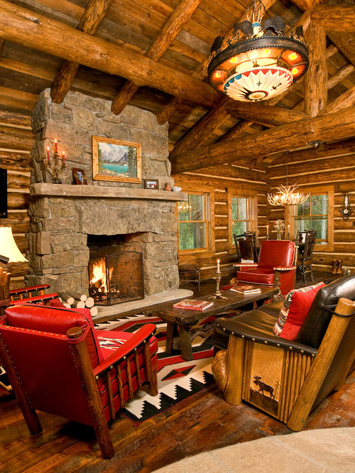 High Quality Mountain Style Formal Living Room Photo In Other With A Standard Fireplace  And A Stone Fireplace Part 17