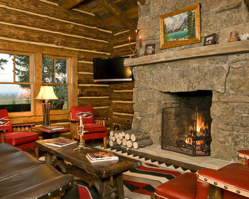 ... Deer Themed Living Room By Cabin Fireplace Houzz ...