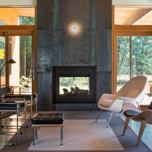 Idee per un soggiorno contemporaneo di medie dimensioni e chiuso con pavimento in cemento, camino bifacciale, cornice del camino in metallo e nessuna TV