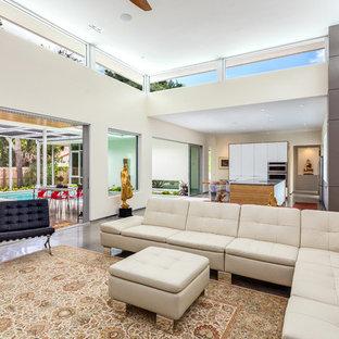 タンパのトロピカルスタイルのおしゃれなLDK (白い壁、コンクリートの床、壁掛け型テレビ) の写真