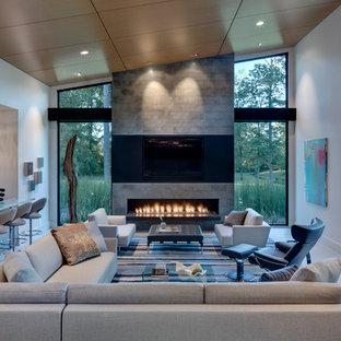 Ispirazione per un soggiorno design aperto con angolo bar e camino lineare Ribbon