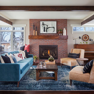 Imagen de salón con rincón musical tradicional renovado, de tamaño medio, sin televisor, con paredes grises, suelo de madera oscura, todas las chimeneas y marco de chimenea de ladrillo