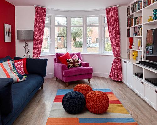 Wohnzimmer mit vinylboden und roter wandfarbe ideen design bilder houzz - Vinylboden wohnzimmer ...