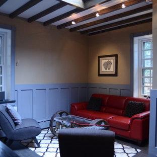 Esempio di un soggiorno design di medie dimensioni e chiuso con sala formale, pareti multicolore, pavimento in ardesia, nessun camino e nessuna TV